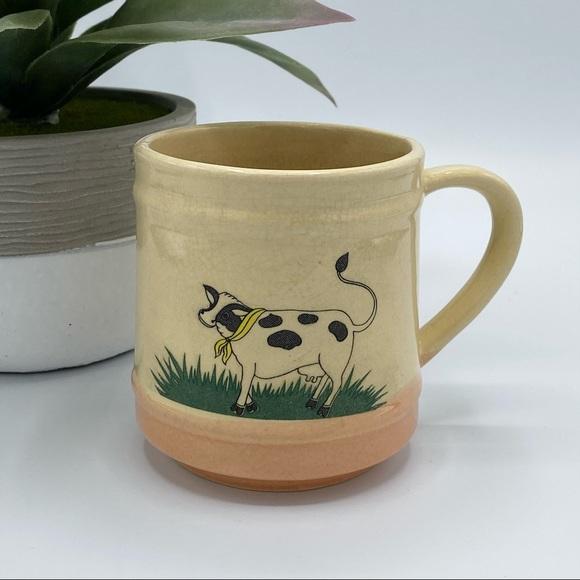 Vintage farmhouse cow coffee mug ivory pink green